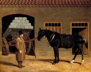 John Frederick Herring Snr - A Cart Horse And Driver Outside A Stable