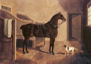 John Frederick Herring Snr - A Favorite Coach Horse and Dog in a Stable