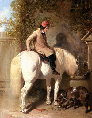 Refreshment, A Boy Watering His Grey Pony