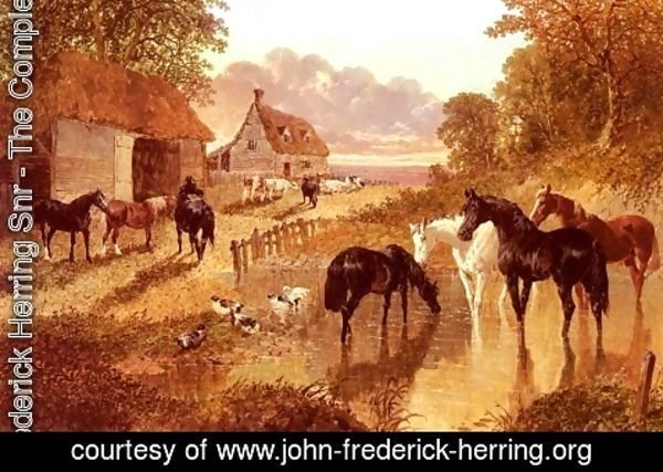 John Frederick Herring Snr - The Evening Hour - Horses And Cattle By A Stream At Sunset
