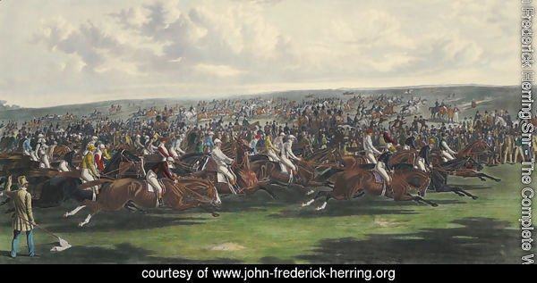 The Start of the Memorable Derby of 1844, engraved by Charles Hunt (1803-77)