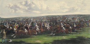 John Frederick Herring Snr - The Start of the Memorable Derby of 1844, engraved by Charles Hunt (1803-77)