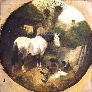 John Frederick Herring Snr - A Carthorse eating hay from a wheel-barrow in a farmyard