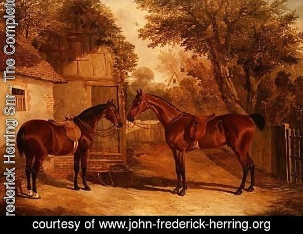 John Frederick Herring Snr - Bay Hunters outside a Farmhouse
