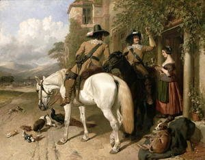 John Frederick Herring Snr - Cavaliers taking refreshments outside an Inn