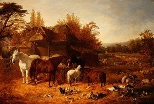 John Frederick Herring Snr - The Farmyard with Horses, Ponies, Berkshire Saddle Backs, Alderney Shorthorn Cattle and Poultry