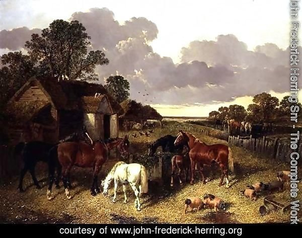 Horses, Pigs, Poultry, Duck and Cattle in a Farmyard