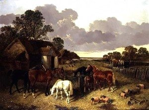 John Frederick Herring Snr - Horses, Pigs, Poultry, Duck and Cattle in a Farmyard