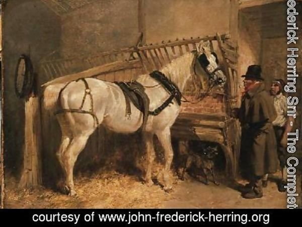 John Frederick Herring Snr - A St. Giles' Cab Horse in a Stable with Grooms