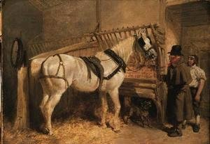 A St. Giles' Cab Horse in a Stable with Grooms
