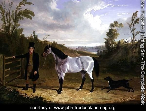 Benjamin Smith's Groom Leslie, with favourite hunter 'Avondale' in a landscape