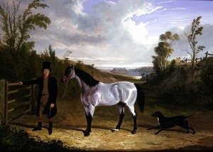 John Frederick Herring Snr - Benjamin Smith's Groom Leslie, with favourite hunter 'Avondale' in a landscape