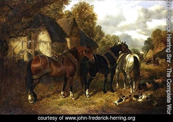 Farm Scene with Cart Horses
