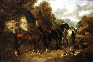 John Frederick Herring Snr - Farm Scene with Cart Horses