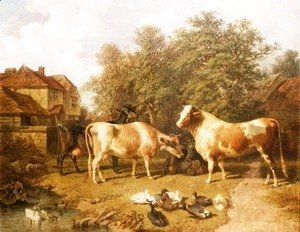John Frederick Herring Snr - Cattle and Ducks, 1859