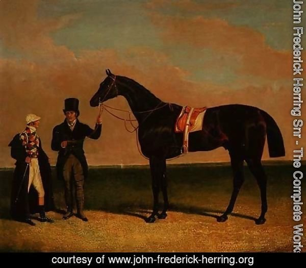 Mr Richard Watts' 'Rockingham' held by his trainer Forth with jockey Sam Darling, winner of the St. Leger 1833 and the Goodwood Cup, 1835