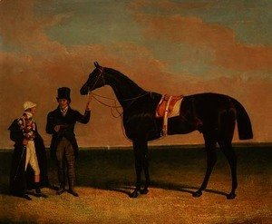 John Frederick Herring Snr - Mr Richard Watts' 'Rockingham' held by his trainer Forth with jockey Sam Darling, winner of the St. Leger 1833 and the Goodwood Cup, 1835