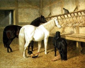 John Frederick Herring Snr - Ponies at the Manger