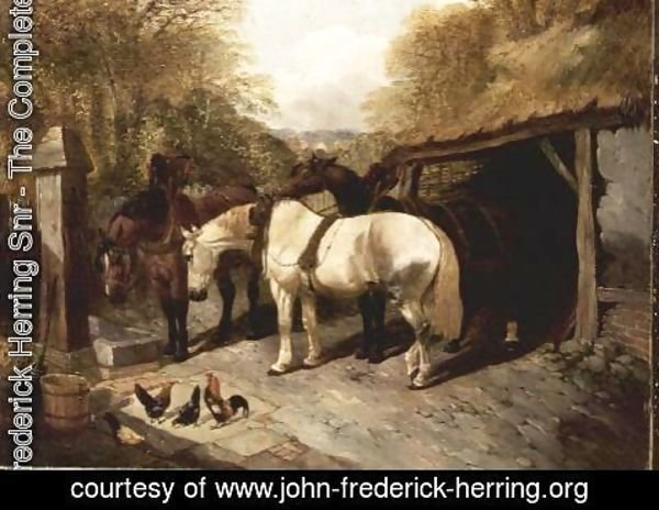 John Frederick Herring Snr - Farmyard with Horses and Chickens