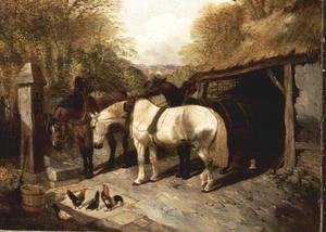 Farmyard with Horses and Chickens