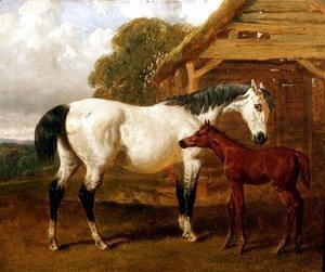 A Mare and Foal before a Barn, 1854