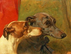 John Frederick Herring Snr - The Greyhounds 'Charley' and 'Jimmy' in an Interior
