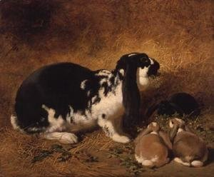 John Frederick Herring Snr - A Doe Rabbit and her three young, 1851