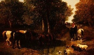 John Frederick Herring Snr - Crossing the Stream, 1840