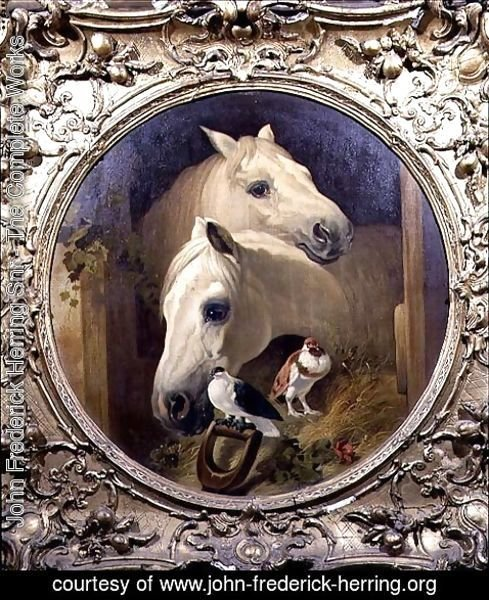 John Frederick Herring Snr - Horses by a Stable Door