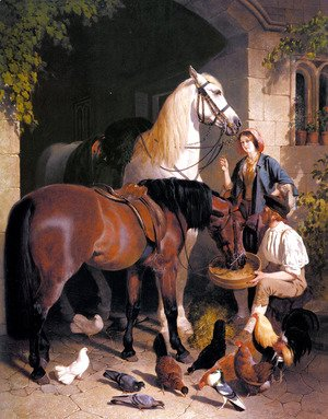 John Frederick Herring Snr - Feeding the Horses, 1858