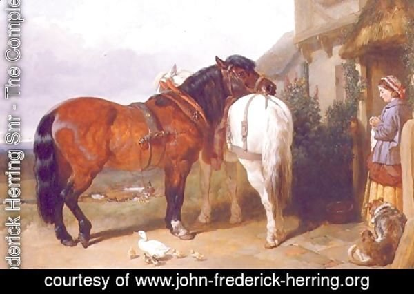 John Frederick Herring Snr - Carthorses by a Cottage Door, 1854