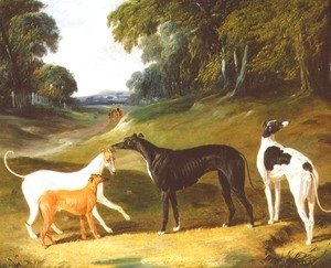 John Frederick Herring Snr - Greyhounds, 'Spot', 'Skylark', 'Nettle' and 'Sky', 1839