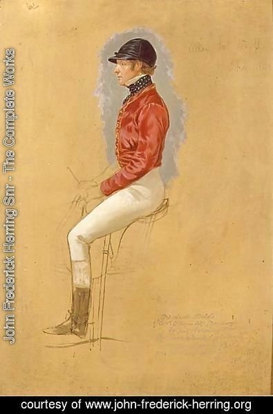 John Frederick Herring Snr - Portrait sketch of Mr Allen McDonough for 'Steeple Chase Cracks', 1846