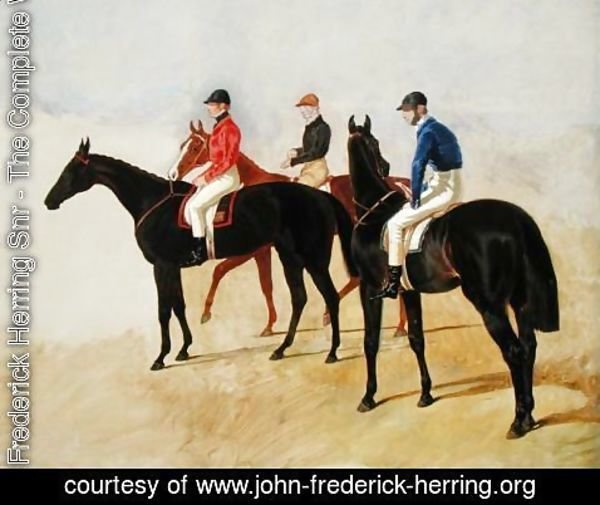 John Frederick Herring Snr - Study of Three Steeplechase Cracks: Allen McDonough on Brunette, Tom Oliver on Discount and Jem Mason on Lottery, or Three Racehorses with Jockeys Up