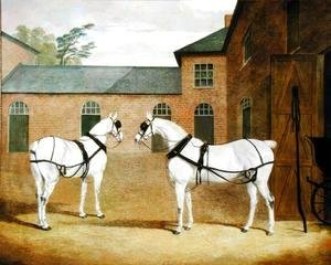 John Frederick Herring Snr - Mr. Sowerby's Grey Carriage Horses in his Coachyard at Putteridge Bury, Hertfordshire, 1836