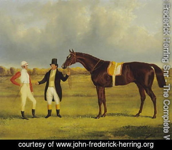 John Frederick Herring Snr - 'Euclid' with his Jockey Conolly and Trainer Pettit