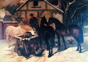 John Frederick Herring Snr - At the Water Trough in Winter