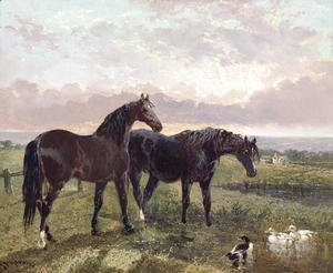 John Frederick Herring Snr - Two horses grazing at sunset