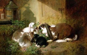 John Frederick Herring Snr - A lop-eared doe rabbit with her young
