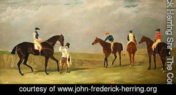 John Frederick Herring Snr - Preparing to start for the Doncaster Gold Cup, 1825, with Mr. Whitaker's 'Lottery', Mr. Craven's 'Longwaist', Mr.Lambton's 'Cedric' and Mr. Farquharson's 'Figaro'