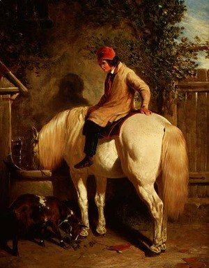John Frederick Herring Snr - A Corner of a Farmyard with a Boy Sitting on a Grey Horse and a Goat eating nearby