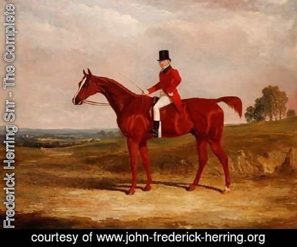 John Frederick Herring Snr - Sir Hugh Hamilton Mortimer, Master of the Old Surrey Foxhounds, on a chestnut hunter in an extensive landscape