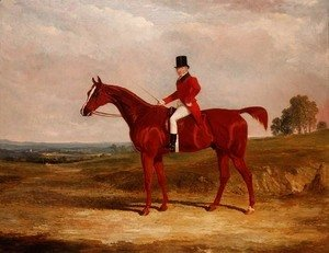 Sir Hugh Hamilton Mortimer, Master of the Old Surrey Foxhounds, on a chestnut hunter in an extensive landscape