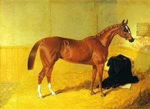 John Frederick Herring Snr - Our Nell, A Bay Racehorse in a Stable