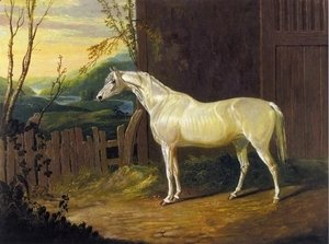 John Frederick Herring Snr - A Gray Arab Mare outside a Stable in an Extensive River Landscape