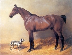 John Frederick Herring Snr - A Bay Hunter and Spotted Dog in a Stable 1846