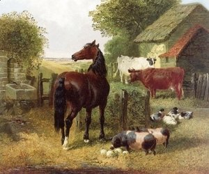 John Frederick Herring Snr - A Horse, Pigs, Cows and Ducks