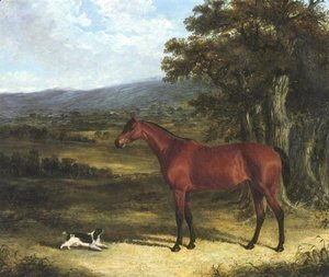 John Frederick Herring Snr - Bay And Spaniel In Landscape 1830