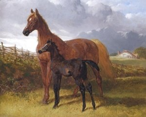 John Frederick Herring Snr - Chestnut Mare And Foal