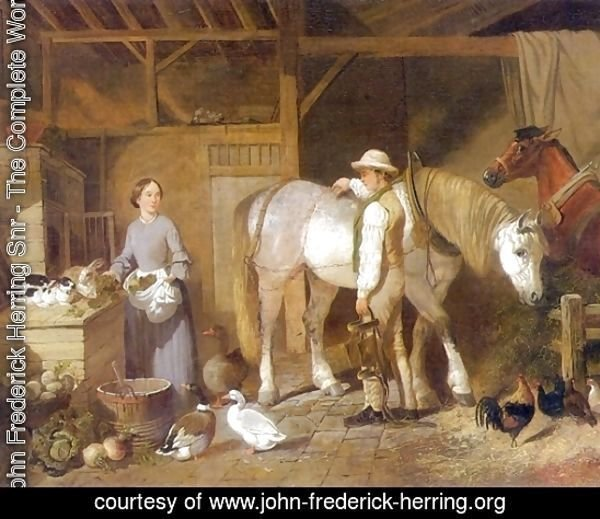 Feeding Time For Farm Animals in Barn 1845